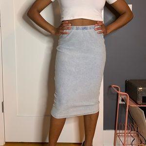 Blue jean midi skirt